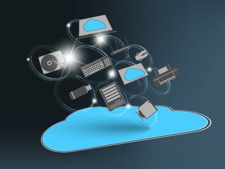 internet security: Flying cloud with computing devices as concept Stock Photo