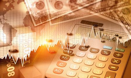fondos negocios: Gráfico de la economía global y la moneda estadounidense como un concepto de finanzas