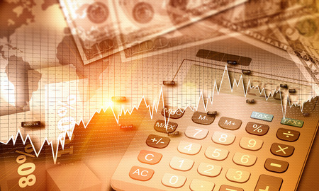 Graphe de l'économie mondiale et la monnaie des États-Unis en tant que concept de la finance Banque d'images - 42003914