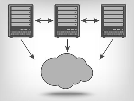 Ícone de servidores de computador e computação em nuvem como um conceito