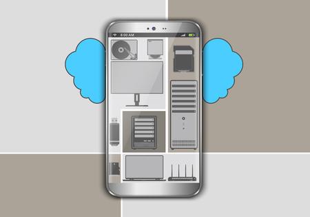 icono computadora: Teléfono inteligente como un dispositivo informático nube voladora