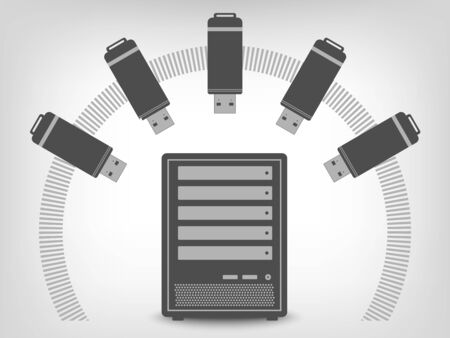 private server: USB flash disk icons as concept Illustration