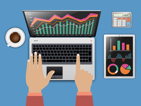 comparing: Comparing statistics in business, concept theme