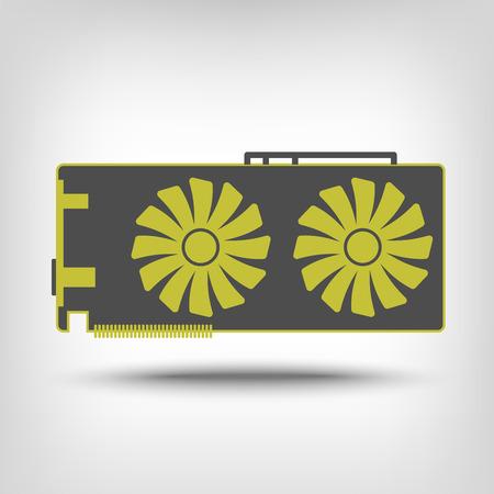 graphic card: Icona della scheda grafica come un concetto Vettoriali