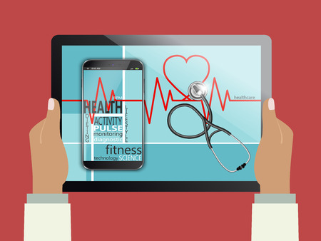 health technology: Tablet computer with the words health as concept
