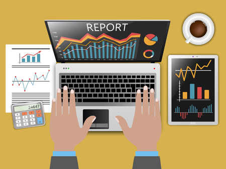 Status report in business, financial theme