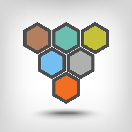 sequential: Six hexagons as sequential steps of