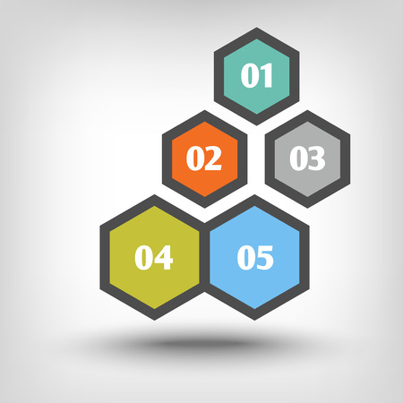 sequential: Five hexagons as sequential steps of Illustration