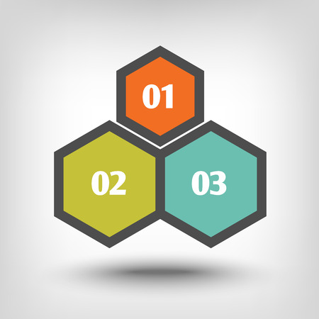 sequential: Three hexagons as sequential steps of Illustration