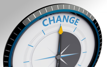 business change: Compass needle pointing to the word change
