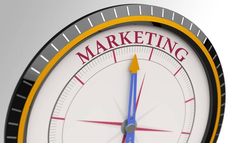 branded product: Compass and an arrow pointing to the word marketing