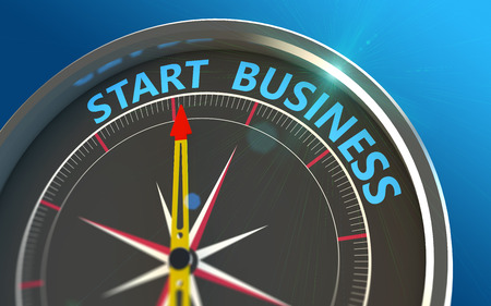 starting a business: Starting up a new business in the compass as a concept Stock Photo