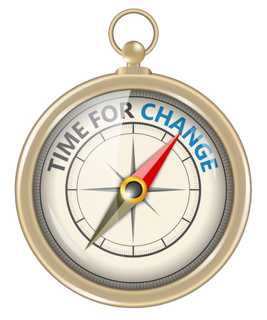 time change: Compass and an arrow pointing to the word time for change Stock Photo