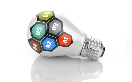 sequential: Six hexagons as sequential steps of strategy on light bulb