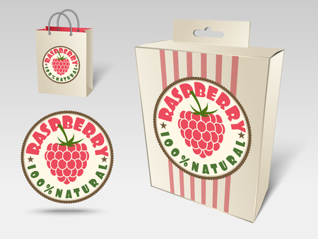 packaging box: Paper packaging and labels for fruit, raspberry Stock Photo
