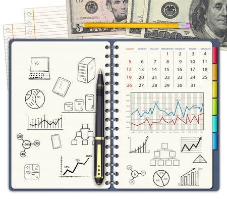 budgets: Spiral notebook with business budgets, concepts and ideas