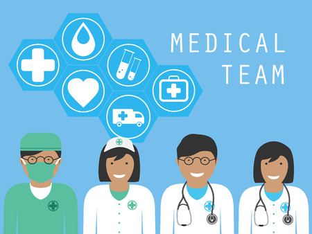 teamwork: Complete medical team with icons Health