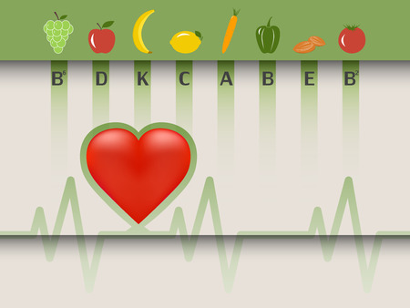 Healthy food for the heart, fruits and vegetables according vitamins