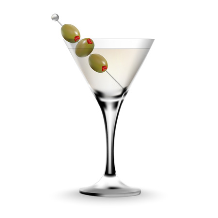 alcoholic beverage: Martini cocktail in a glass with olive. Realistic alcoholic beverage. Illustration