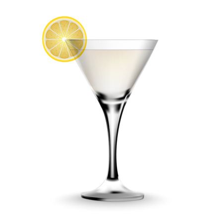 alcoholic beverage: Martini cocktail in a glass with lemon. Realistic alcoholic beverage.