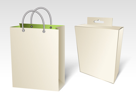 open present: Empty paper shopping bag with a box