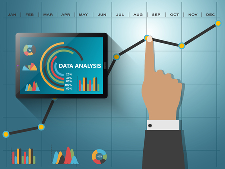 analyze data: Comparing statistics in business,  infographics report charts