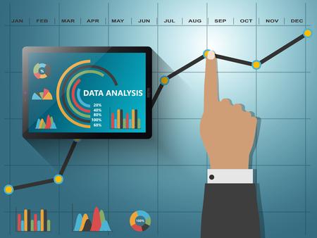 La comparación de las estadísticas en los negocios, la infografía informan gráficos Foto de archivo - 49360847