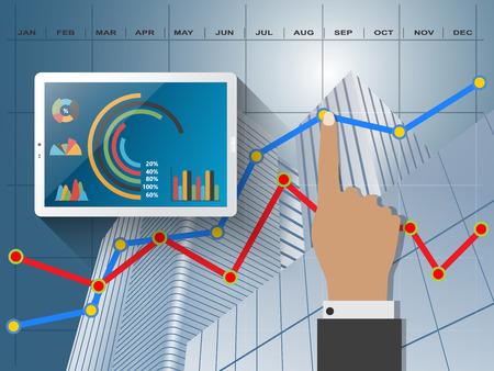 ビジネスの統計情報を比較すると、インフォ グラフィック レポート グラフ