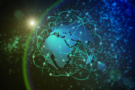 travel transportation: Technology abstract background, concept of global communication Stock Photo