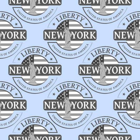 stamp: Stamp with the Statue of Liberty and New York. Seamless pattern, can be used in textiles, for book design, website background.