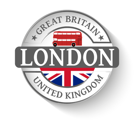 london bus: Sticker London and red london bus Illustration