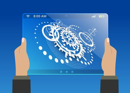 technological: Abstract blue background with different circular technological elements Illustration