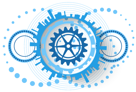 bearing: Abstract blue background with different circular technological elements Illustration