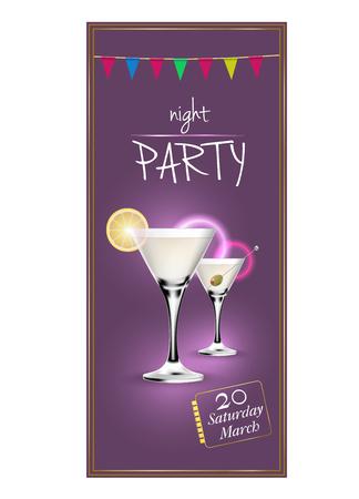 Design theme for cocktail party invitation Vektorové ilustrace