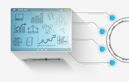 抽象的な技術コンセプトのコンピュータ タブレットの将来