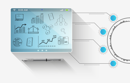 추상 기술 개념 컴퓨터 태블릿 미래 스톡 콘텐츠 - 50176830