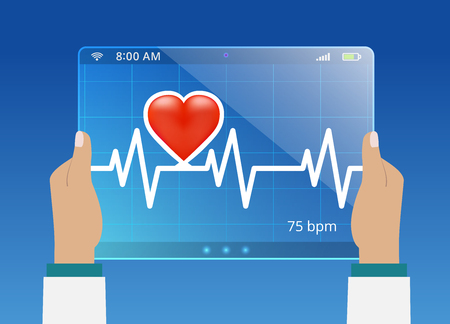 infarct: Medicine doctor monitoring the status of cardiogram on modern computer interface