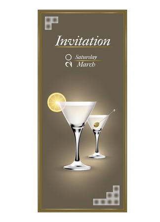 invitacion fiesta: Modern invitation cards with a cocktail