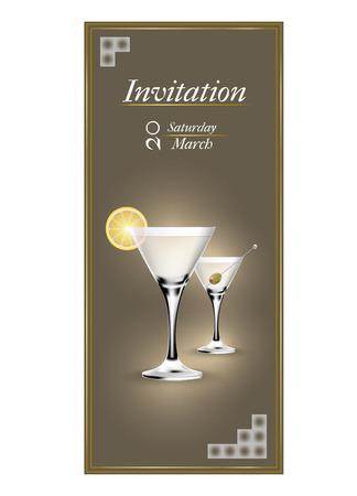 invitacion fiesta: tarjetas de invitación modernas con un cóctel
