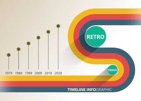 reports: Retro infographic timeline report. Simple geometric shapes. Illustration