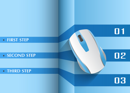 manual: Infographics in three steps for tutorial or manual. Computer wireless mouse.
