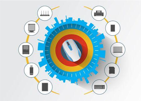 electronic scheme: Computer devices accessories and equipment.Cloud computing service scheme. Illustration