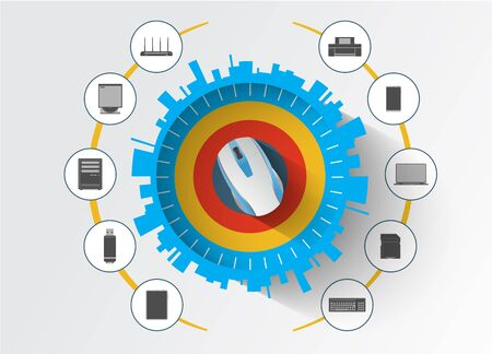 esquema: Dispositivos de computadoras accesorios y esquema de servicio de computación equipment.Cloud. Vectores