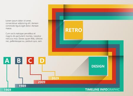 decade: Retro infographic timeline report. Simple geometric shapes. Illustration
