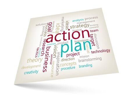 plan de accion: concepto de plan de acci�n - nube de palabras comercializaci�n tema gr�fico