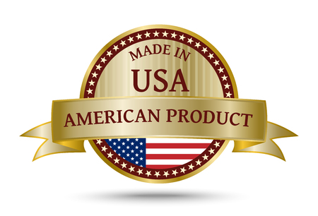 made manufacture manufactured: Made in USA golden badge and icon with the flag of the United States of America Stock Photo