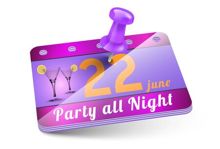 thumbtack: Party invitation card with thumbtack Stock Photo