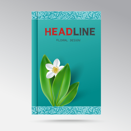 tree jasmine: Modern Design a book cover with flowering jasmine