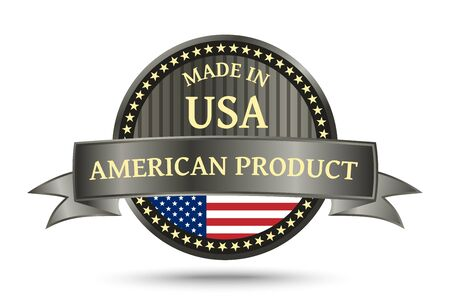 made manufacture manufactured: Made in USA metal badge and icon with the flag of the United States of America