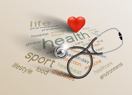 Vector illustratie voor de World Health Day op papier achtergrond